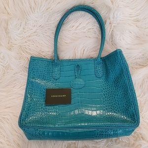 Auth. Longchamp Turquoise Croc Roseau Tote